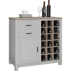 Better Homes and Gardens Langley Bay Bar Cabinet, Gray/Sonoma Oak - Walmart.com