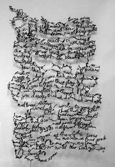 Donna Rumble-Smith: Handwritten Stitches - Handstitched Words via Hannah Lamb Textile Fiber Art, Textile Artists, Poesia Visual, A Level Textiles, Instalation Art, Handwritten Text, Embroidery Works, Thread Painting, Wire Art