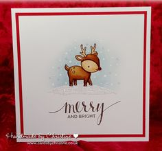 Hi Peeps..     A quick, clean and simple one from me today. I have fallen in love.... seriously... with this little reindeer from the ...