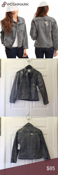 RVCA Distressed Denim Jacket Felled seams and distressed details add all-American charm to a classic denim jacket styled with a cool, borrowed-from-the-boys fit.  •Size XS   •New with tag   •NO TRADES/HOLDS RVCA Jackets & Coats Jean Jackets
