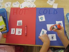 Hot and Cold activity.  What is hot and what is cold? Cutting and glueing practice as well.