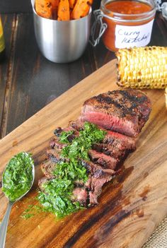 Grilled filet mignon with mint and parsley #beef #filet #parsley