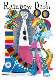 """""""Rainbow Dash (My Little Pony; Equestria Girls)"""" by fabfandoms ❤ liked on Polyvore featuring Topshop, Full Circle, maurices, Converse and Bling Jewelry"""