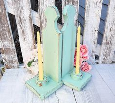 Mint Shabby Chic Sconces  Painted Wood Candle by HuckleberryVntg, $29.00