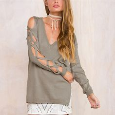 Sexy Bandage Hollow Out Long Sleeve Women Blouse Shirt  Spring Autumn V Neck High Low Split Tops Club Party Blusas – goods-fashion.net
