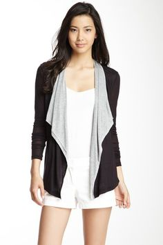 Long Sleeve Draped Front Cardigan with Contrast by Three Dots on @HauteLook