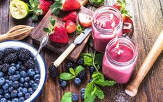 [Recipe] Banana Berry Protein Smoothie - Page 2 of 2 - Drink Me Healthy Protein Smoothies, Smoothie Proteine, Carrot Smoothie, Blackberry Smoothie, Yummy Smoothies, Weight Loss Smoothies, Breakfast Smoothie Recipes, Easy Healthy Breakfast, Healthy Fruits