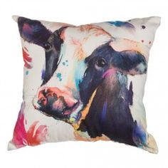 Watercolor Cow 18 Inch Cotton and Burlap Throw Pillow - Pillows - Home Décor