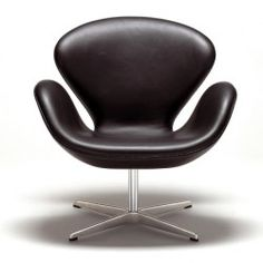 Swan Chair Black Leather by Arne Jacobsen