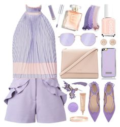 """Purple Rain Purple Rain"" by the-amj ❤ liked on Polyvore featuring Elie Saab, Adam Selman, Carla G., Kate Spade, Ray-Ban, Dana Buchman, Nam Cho, Lana Jewelry, Gucci and tarte"
