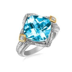 Yellow Gold and Sterling Silver Blue Topaz Cushion Ring with Diamond Accents, size 8 Topaz Jewelry, Sterling Silver Jewelry, Diamond Sizes, Halo Diamond, Silver Engagement Rings, Ring Engagement, Wholesale Silver Jewelry, Cushion Ring, Silver Diamonds