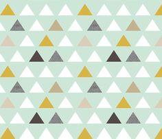 Bathroom - mod mint triangles fabric by mrshervi on Spoonflower - custom fabric