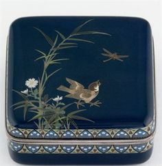 A Cloisonné Kogo [Incense Container] Hayashi Kodenji Studio Mark, Meiji Period (late 19th century) Worked in gold and silver wire and various coloured cloisonné enamels on a dark blue ground with a bird about to catch a dragonfly, silver rims