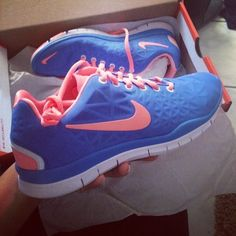 Coral & Blue Nikes  buy nike shoes   Awesome pair for #womens #Sneakers $48 at  #womens2014 com