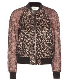 Gucci - Veste bomber en soie nude et rose, et dentelle noire
