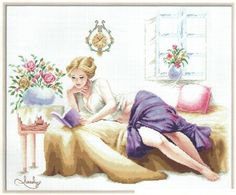 0 point de croix romantique femme allongée lisant - cross stitch romantic girl reading