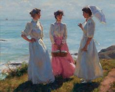 Gregory Frank Harris - Summertime Along the Sea | Oil on canvas-panel painting. Important modern art for sale on CuratorsEye.com
