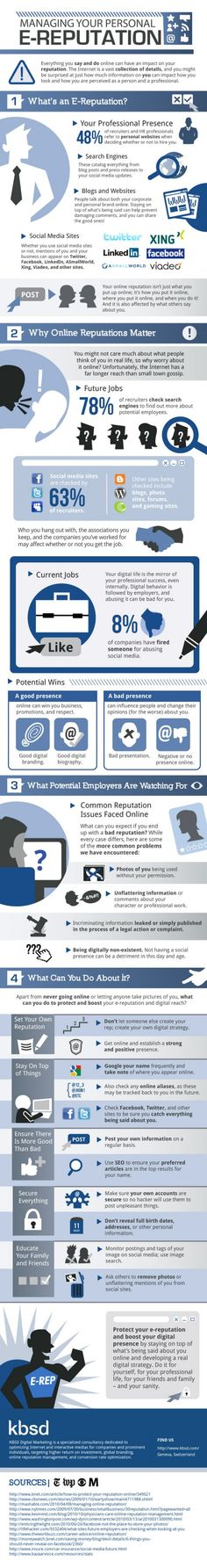 """You don't have to be running for president to care about your online reputation. Almost everything you do online is easy to track, especially when you're using social media sites. This infographic shows you how to manage your """"e-reputation,""""Internet"""
