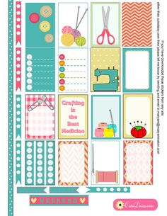 Free Printable Crafts themed Stickers for Happy Planner:
