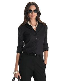 All Black Accented with Pearls - Brooks Brothers:classic style