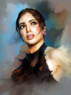 bhumi-pednekars Watercolor Portrait Painting, Woman Painting, Easy Drawings For Kids, Drawing For Kids, Charcoal Art, Digital Art, Digital Paintings, Wonder Woman, Actors