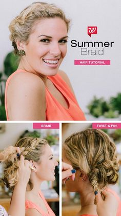 Style your hair in a no-fuss, easy summer 'do—perfect for short tresses! First braid your hair tightly at the crown, continuing to the back as far as your hair will take you. Then tuck and pin the ends for a cute updo! See the full tutorial in our Be Beautiful Blog.