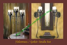 GOTHIC / MEDIEVAL / HALLOWEEN TORCH CANDLE HOLDER SCONCE & STAND SET OF 3  http://stores.ebay.com/Slems-Gift-Store or order directly from me at dslem3@yahoo.com for 20% off anything in the store!