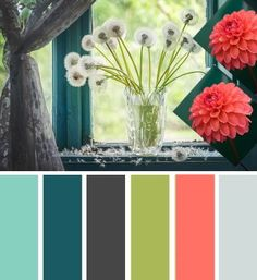 These colors make an excellent neutral home decor painting theme. Gray Teal Olive Coral Color Scheme