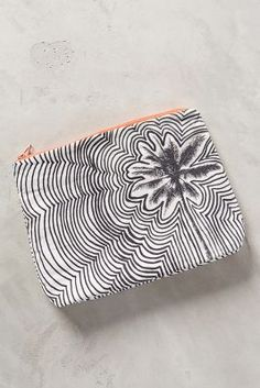 Rippled Floral Pouch