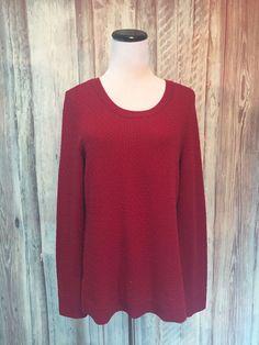 Talbots Red Sweater Wool Blend Textured Honeycomb Round Neck LS sz M EUC! #Talbots #Pullover