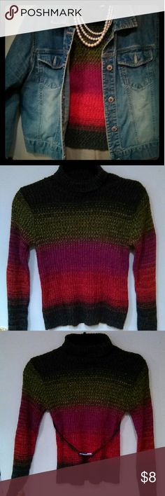 Colorful Sweater Large but definitely fits more like a Medium. Spoiled Girl Sweaters Cowl & Turtlenecks