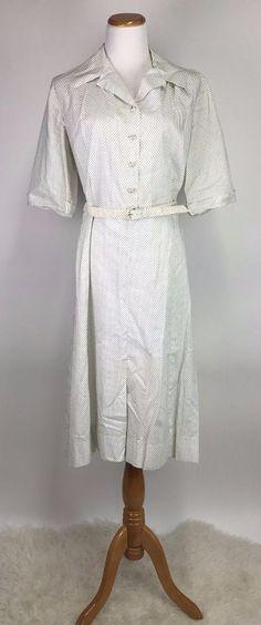 Vintage 1950s 50s Lucy Pinup Swiss Dot White Black Belted Shirtwaist Dress XL