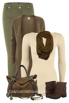 """Olive and Brown"" by cindycook10 ❤ liked on Polyvore"