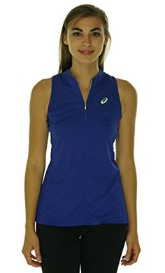 Asics Womens Sleeveless Tennis Polo Blueberry Large *** Check out this great product by click affiliate link Amazon.com