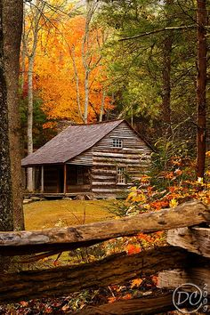 Cabin in Autumn in the Great Smoky Mountains.