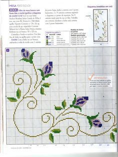 Cross Stitch Boarders, Cross Stitch Flowers, Cross Stitch Charts, Cross Stitch Patterns, Needlework, Embroidery Designs, Sewing, Floral, Crafts