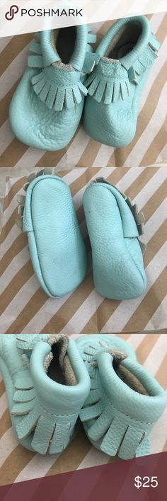 Baby moccasins leather fringe boho shoe turquoise Great light green/teal colored soft moccasins! Bought these on posh & didn't get to put on my baby in time to fit- slight wear on front toe of the one shoe. I have other baby stuff in my closet, pls take a look! Lmk if you have any questions! Shoes Moccasins