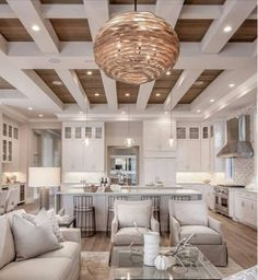 This pendant is a great example of how concentric circles can influence product design. These hand-carved undulating wood circles are arranged to create a contemporary open sphere finished in a gray-wash.While appearing to float around the single light, t Kitchen Living, Home Living Room, Living Room Designs, Kitchen Small, Living Room And Kitchen Together, Living Room Kitchen Layout, Living Area, Living Room Furniture Layout, Small Bathroom