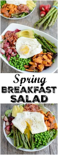 Loaded with spring vegetables and topped with over-easy eggs, this paleo, gluten-free Spring Breakfast Salad is an easy and delicious way to start your day with more veggies!