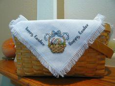 Happy Easter Cross Stitched Basket Liner by TheGardenStitcher