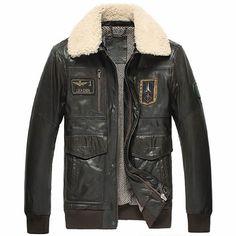 Dark Brown Cowhide Leather Lamb Fur Military Style Bomber Jackets Men SKU-116140