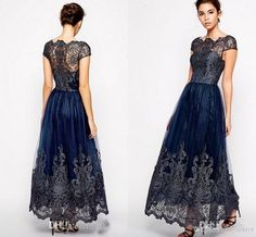 Vintage Mother Off Bride Dresses 2016 New Cap Sleeve Plus Size Tulle Navy Blue Lace Appliques Long Ankle Length Women Formal Mothers Gowns Online with $119.6/Piece on Haiyan4419's Store | DHgate.com
