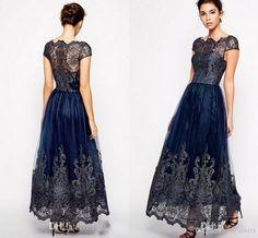 e92271b5ab3 Vintage Mother Off Bride Dresses 2018 Cheap Cap Sleeve Plus Size Tulle Navy  Blue Lace Appliques Long Ankle Length Women Formal Mothers Gowns Petite  Mother ...