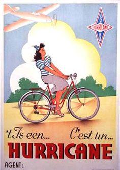 Vintage♥ Hurricane Bicycle Poster