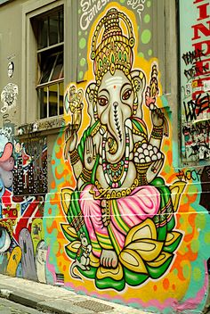somewhere in Melbourne - I have always had this thing about Ganesh, and this is both soulful and respectfully done graffiti for the great Ganesh