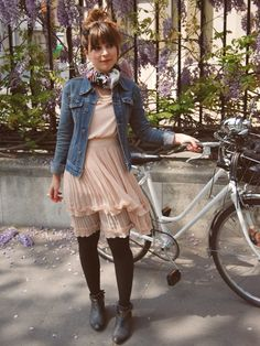 Denim jacket + feminine dress