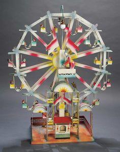 Rare German Tin Mechanical Musical Ferris Wheel in Grand Size by Kibri
