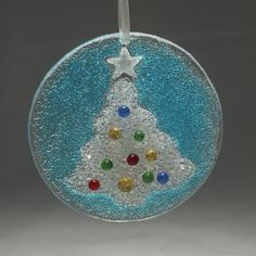 Christmas Tree Holiday Ornament Fused Glass comes by seastarglass