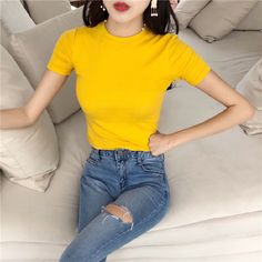 Loose Shirts, Casual T Shirts, Women's Casual, Loose Shirt Outfit, Fall Winter, Autumn, Office Ladies, Types Of Collars, Short Outfits
