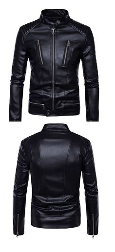 Men's Casual/Daily Simple Fall Winter Leather Jacket,Solid Stand Long Sleeve Regular PU